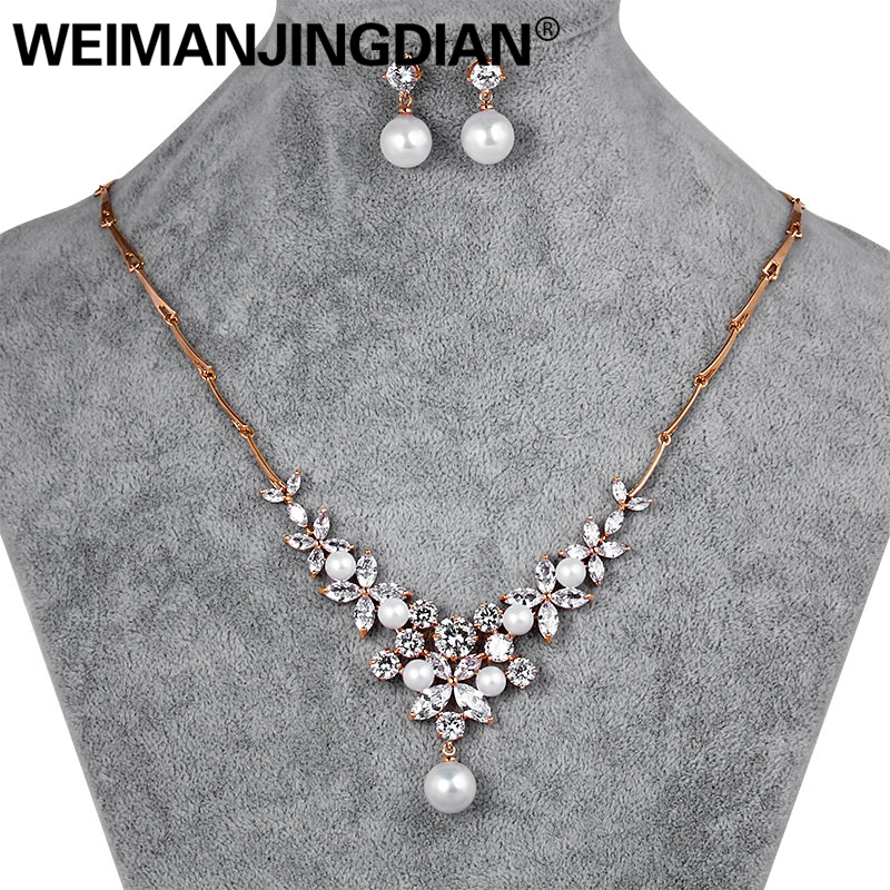 WEIMANJINGDIAN Elegant Floral Design Rose Gold Color Cubic Zirconia and Shell Pearl Bridal Necklace and Earring Jewelry Set