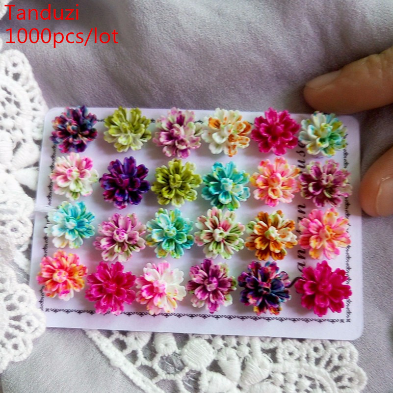 Tanduzi 1000pcs Wholesale Beautiful Mixed Color Layered Daisy Flower Flatback Resin Cabochons Scrapbooking DIY Home Decoration