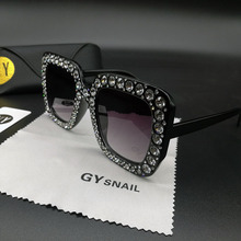 ФОТО gy snail luxury square sunglasses women brand designer diamond frame sun glasses for women sunglass mirror vintage oculos de sol