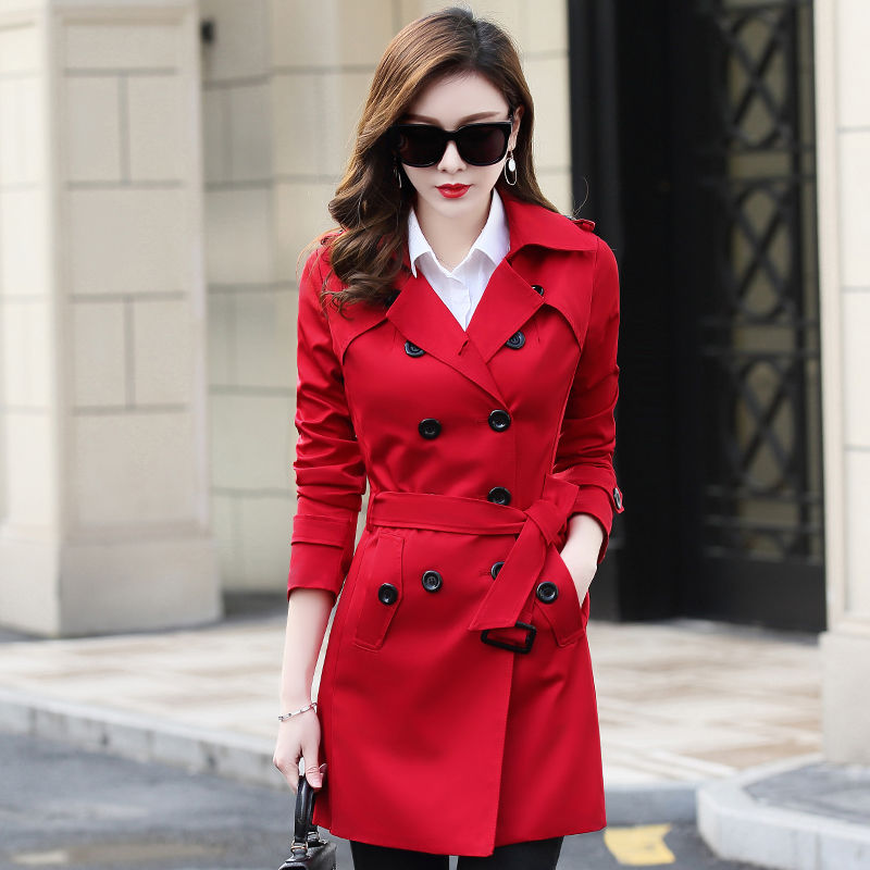 Plus Size 6XL Double-Breasted Office   Trench   Coat Women Elegant Overcoat Long   Trench   Coat Spring Coat Women Casaco Feminino C4293