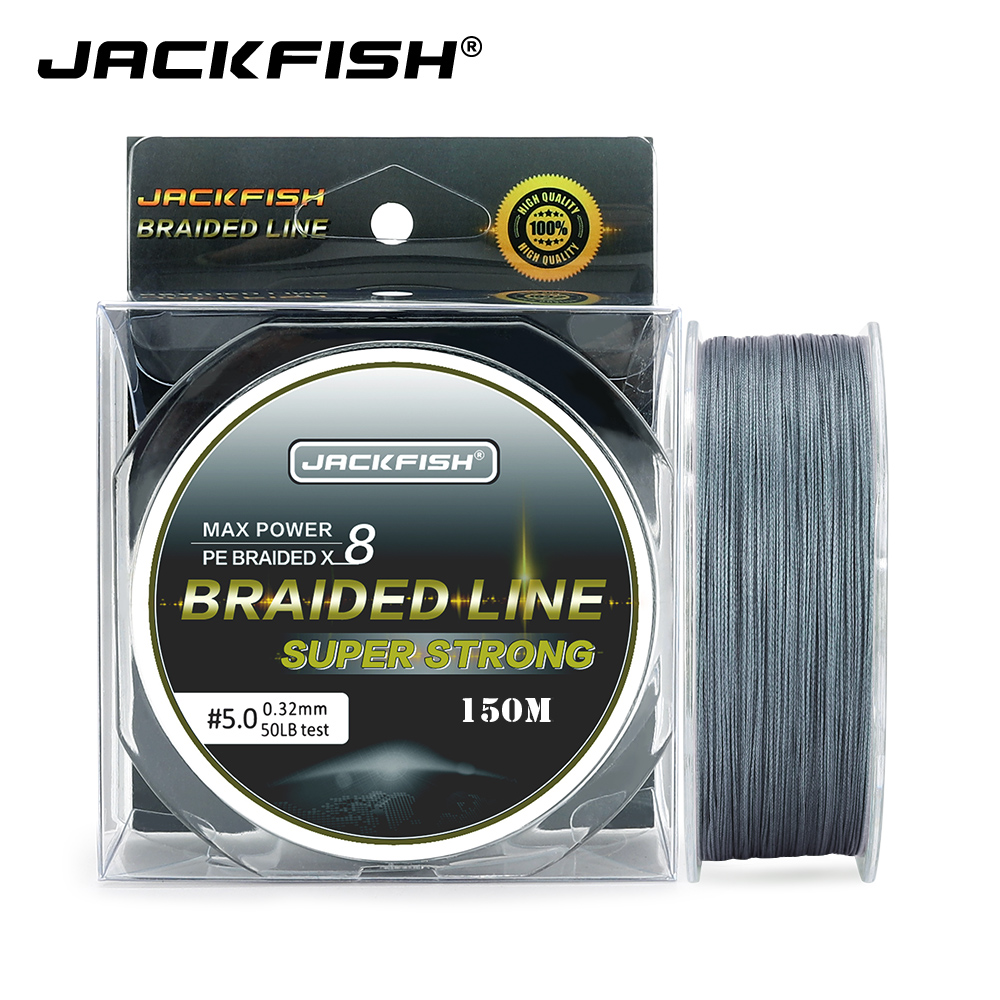 JACKFISH  8 strands 150M Super Strong PE Braided Fishing Line 10-80LB Multifilament Fishing Line Carp Fishing Saltwater