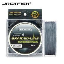 Jackfish 8 vertentes 150m super forte pe trançado linha de pesca 10-80lb multifilament pesca carpa pesca de água salgada