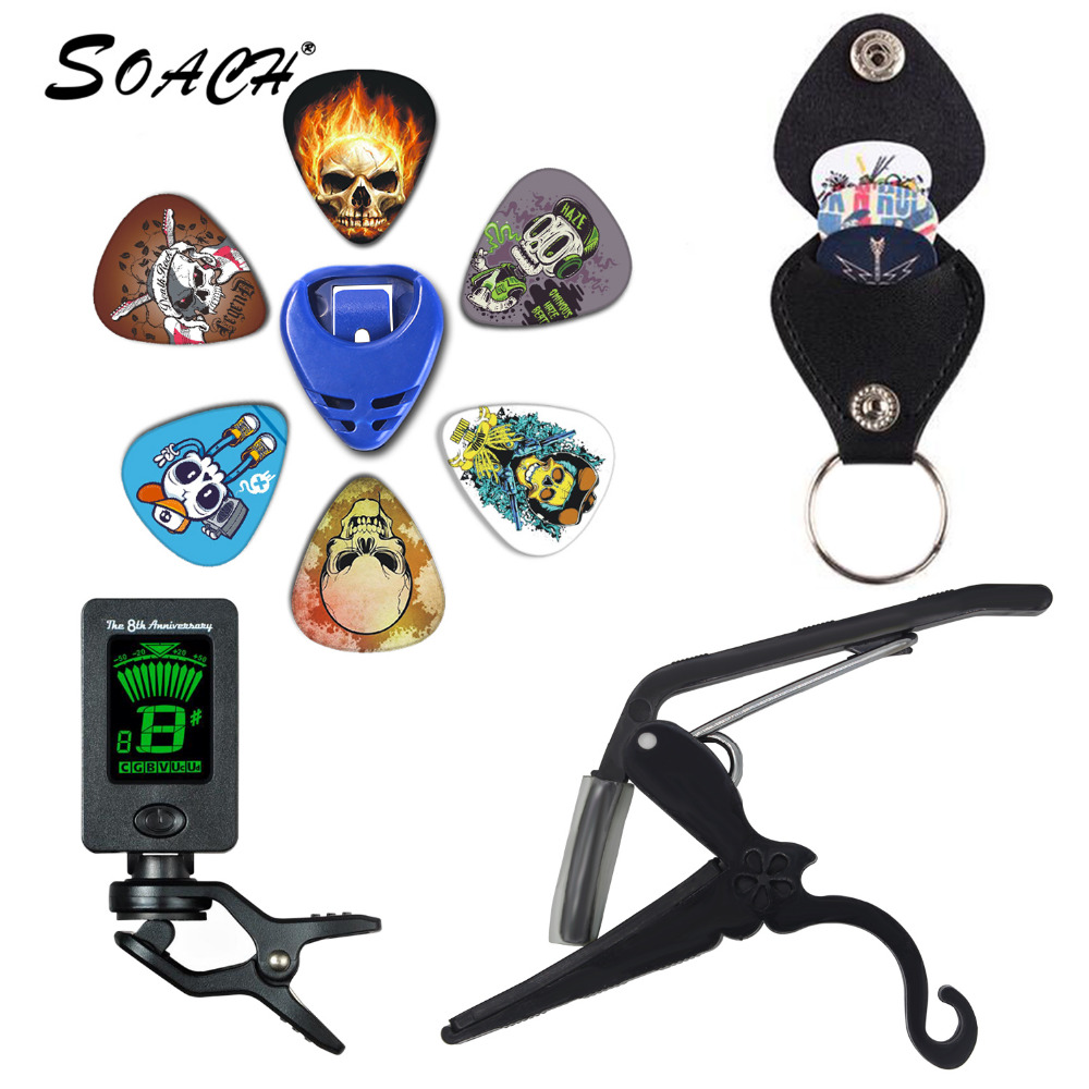 SOACH 2018 NEW Super Value Tool Kit Guitar Tuner + Capo + Plectrum Holder + Key Ring + 6 Colors Picks Guitarra Parts Accessories soach 16pcs pvc guitar picks pictures random black picks bag package holder bass guitar part