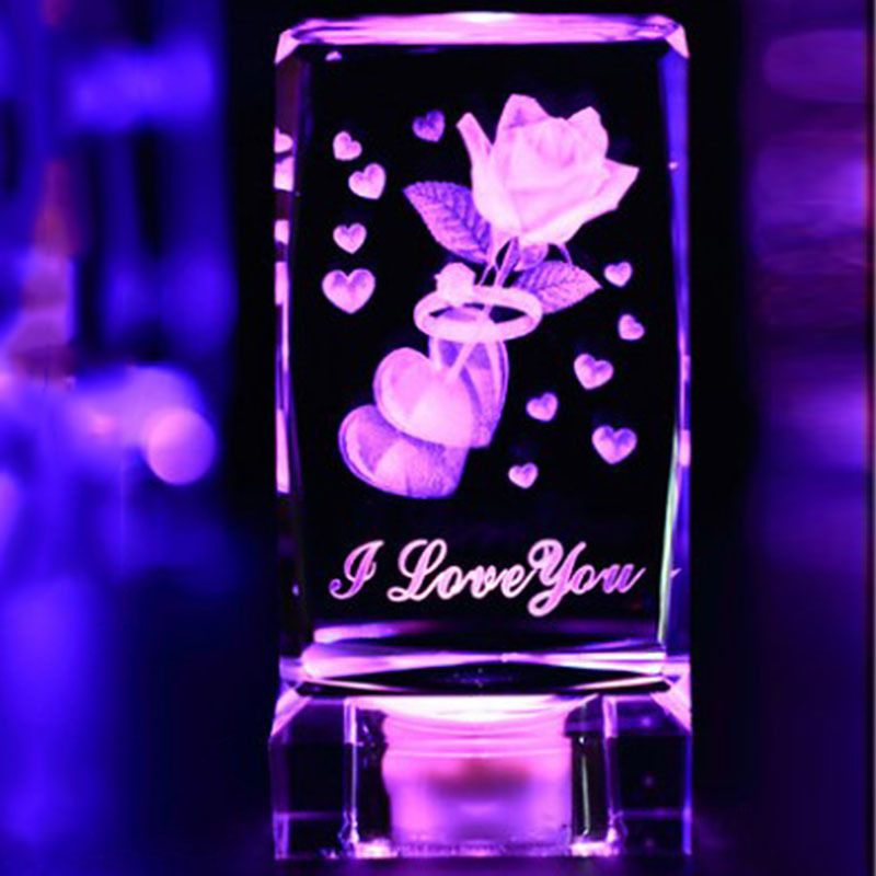 5*9.8cm Rose Creative 3d Crystal Laser Engraver Cube Block Glass Led Engraving Home Ornament Christmas New Year Present Easy To Use Home Decor