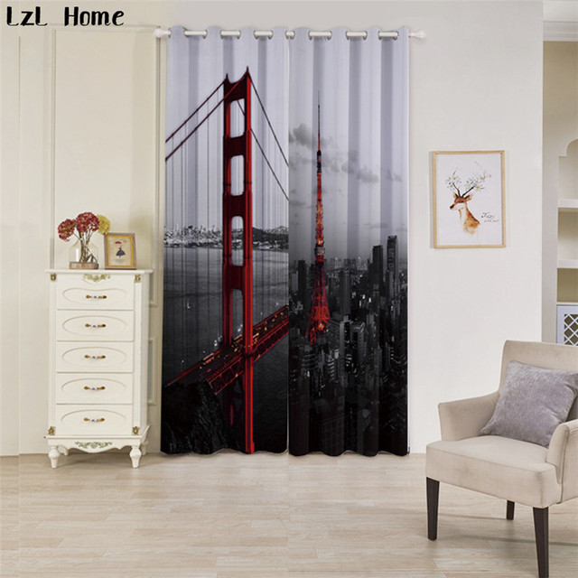 Lzl Home 3d Red Iron Bridge Design Blackout Curtains Black And White