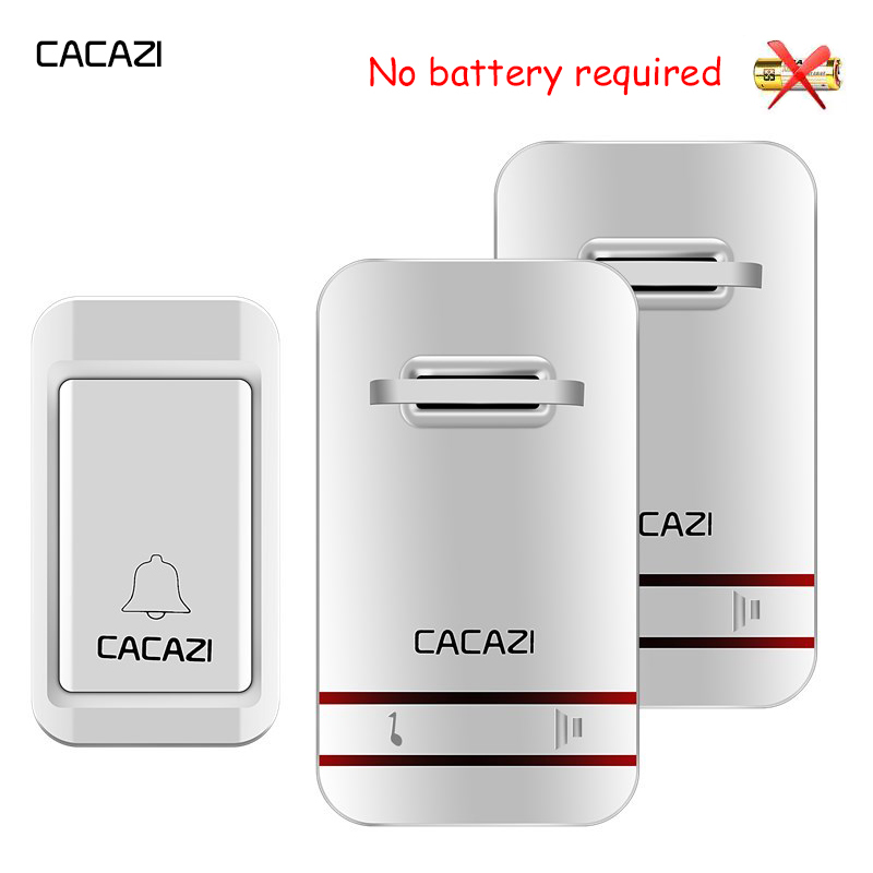 CACAZI self powered wireless doorbell button waterproof with no battery door bell EU US UK plug 120M remote 38 rings door chime no battery wireless doorbell 1 push button 2 door chime 120m range home door bell with eu us uk au plug waterproof door bell