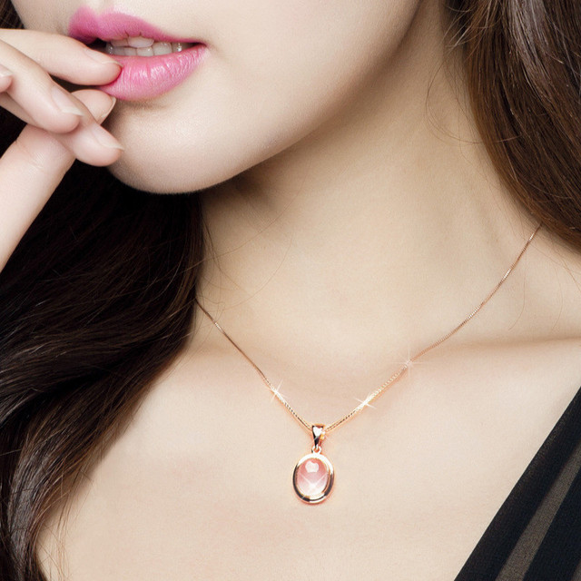 MOONROCY Drop Shipping Jewelry Wholesale Romantic Sweet Oval Pink Opal Necklace for Women Girls Wedding Jewelry Choker Gift