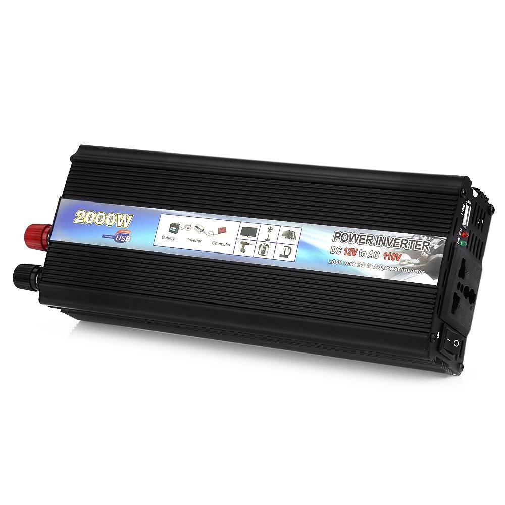 цена Rectangle Car Power Inverter DC 12V to AC 110V 60Hz AUTO 2000W Black Power Inverter Car Vehicle USB Port Power Supply Switch