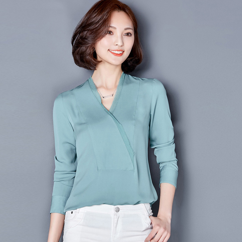 Здесь продается  100% Silk Crepe Blusas Natural Silk Chiffon Fabric Shirts Women Blouses Shirts Vintage Women Shirts  Одежда и аксессуары