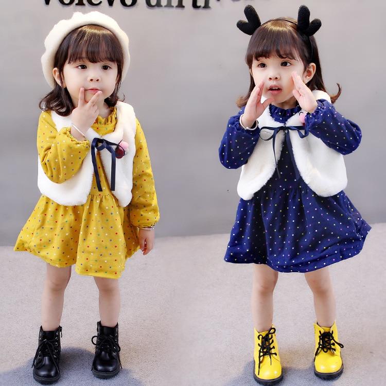 fashion Dot Baby Girl Dresses winter Plus cashmere Long Sleeve Princess Dress+vest 2pcs baby girls clothes set Dresses