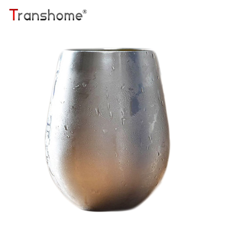 Transhome Stainless Steel Mug 500ml Fashion Creative Milk Mugs Egg Shape Large Capacity Beer Cup For Party Travel Birthday Gift