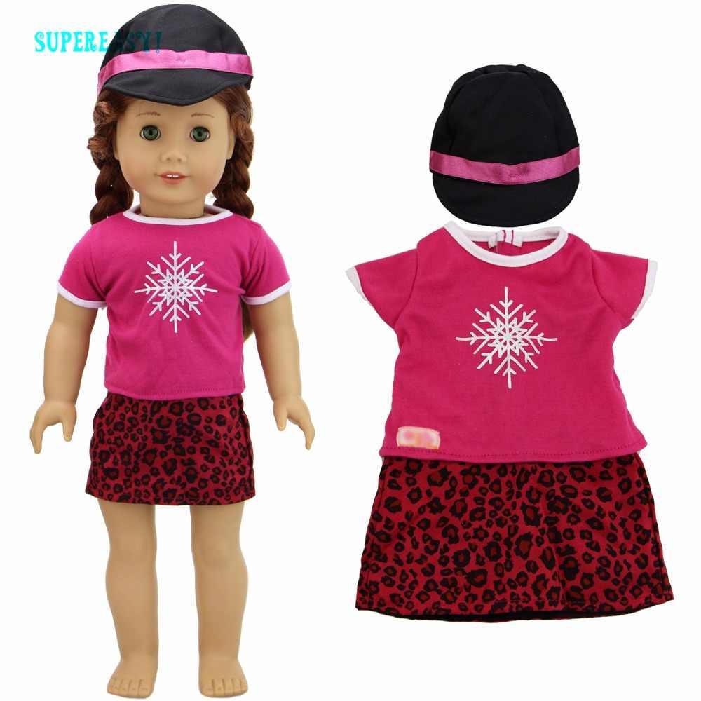 """手作りの基本的なシャツピンクスノーフレークブラウスヒョウミニドレススカート + 黒ジョッキーキャップ服アメリカンガール人形のため 18 """"おもちゃ"""