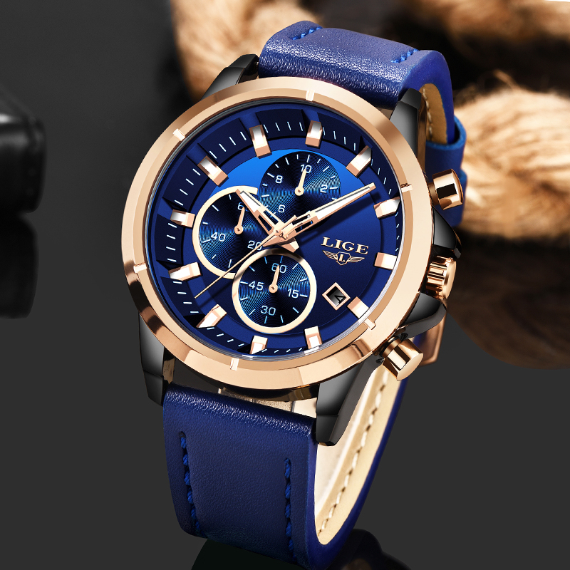 2019 Fashion Blue Leather Clock LIGE Mens Watches Top Brand Luxury Quartz Gold Watch For Men Waterproof Chronograph Reloj Hombre
