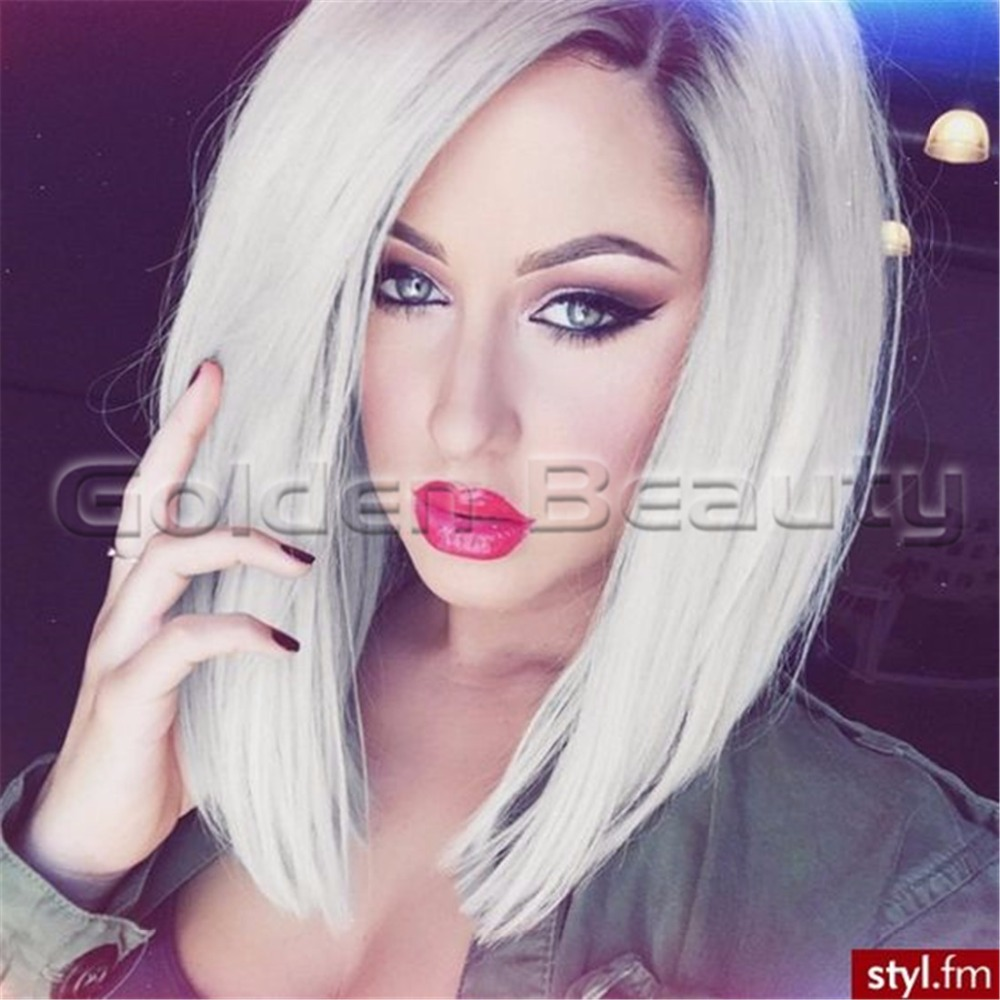12 inch short BOB straight ombre grey hair lace front wigs synthetic gray Bob - Xuchang Golden Beauty Hair Products Co.,Ltd store