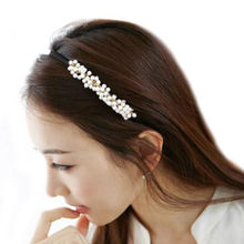 Hot Sweet Women Girl Charm Man-made Pearl Hair Hoop Band Elegant Headband Headwear Hairbands Hairpin 5BTR 7G7Z