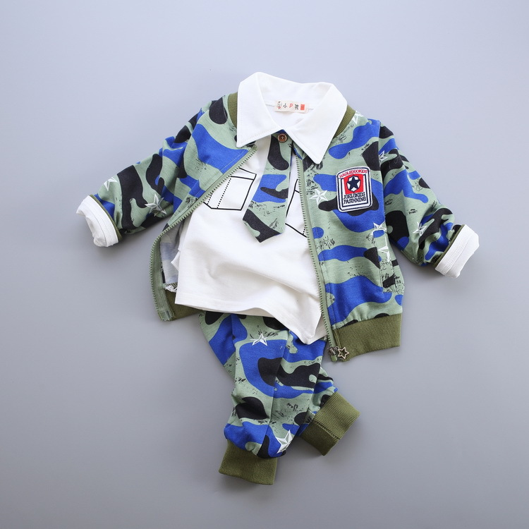 ФОТО Boy child camouflage autumn winter 3 pieces sets children's clothes kids clothes baby clothing