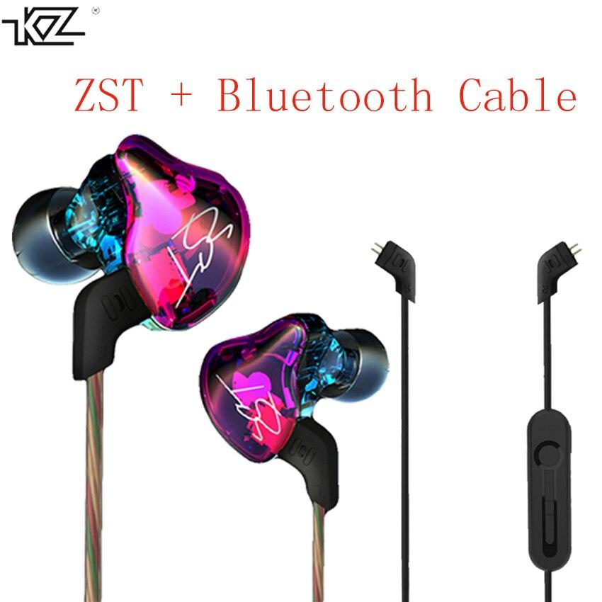 KZ ZST Hybrid Auricolare Bluetooth + Wired 2 Cavi Armature + Dynamic Drive  HI-FI Auricolari Bassi per Lo Sport Musica Intelligente Phones in-ear  Auricolari 07270b4f09e3