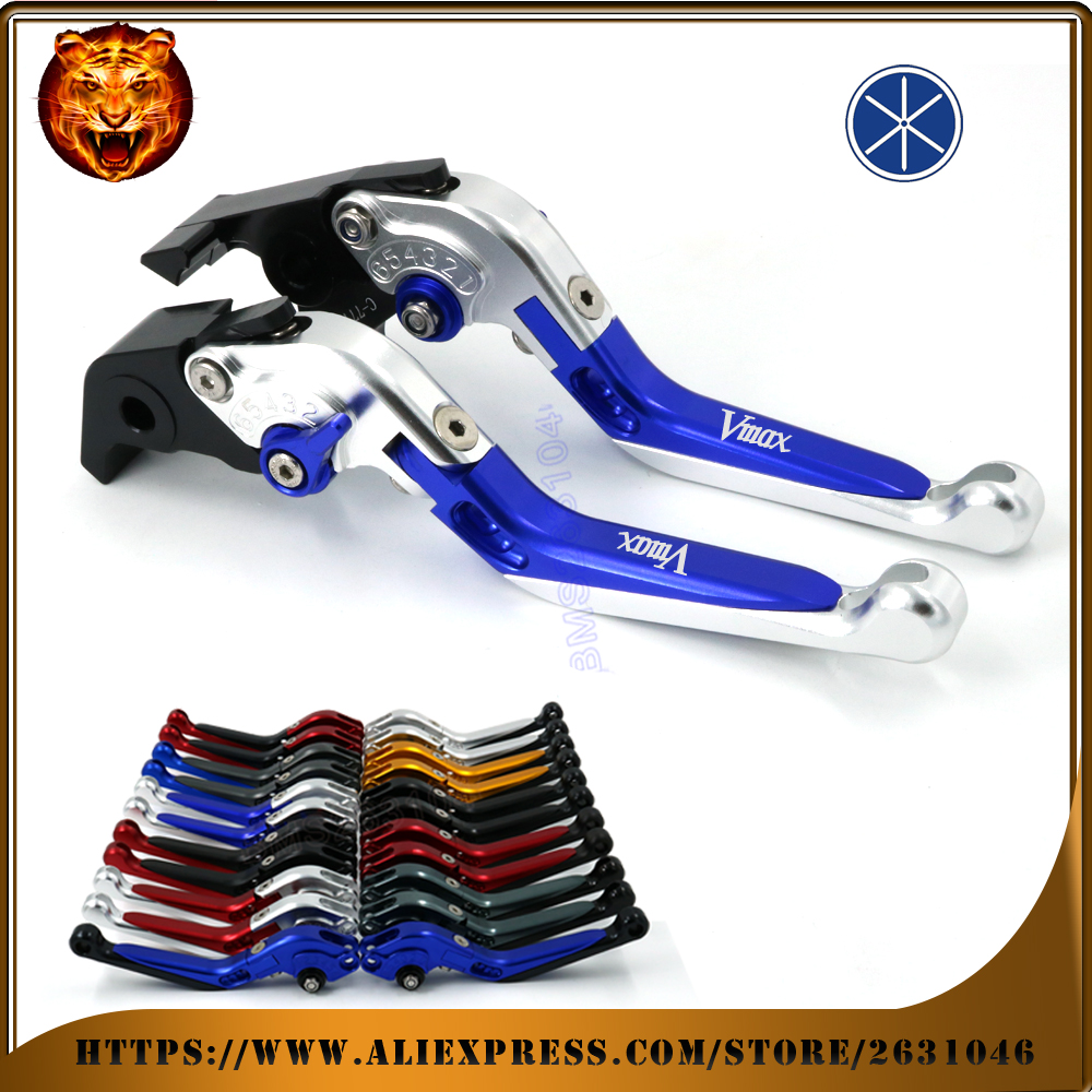 Motorcycle Adjustable Folding Extendable Brake Clutch Lever For YAMAHA VMAX V-MAX 2009 10 11 12 13 14 FREE SHIPPING BLACK BLUE cnc motorcycle adjustable folding extendable brake clutch lever for yamaha xt1200z ze super tenere 2010 2016 2012 2013 2014 2015