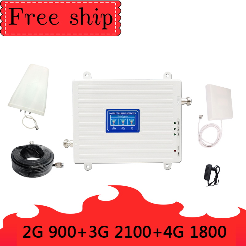 GSM 900 LTE DCS 1800 WCDMA 2100mhz Triple Band Cell Phone Signal Booster 2G 3G 4G 70dB Mobile Cellular Signal Repeater