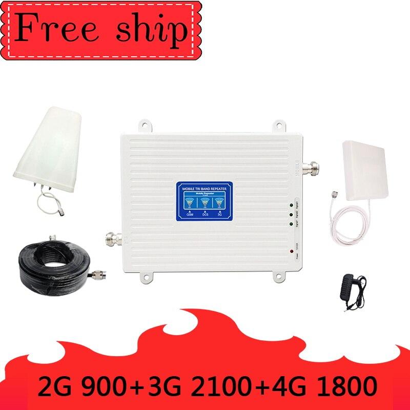 GSM 900 LTE DCS 1800 WCDMA 2100 mhz Triple bande amplificateur de Signal de téléphone portable 2G 3G 4G 70dB répéteur de Signal cellulaire Mobile
