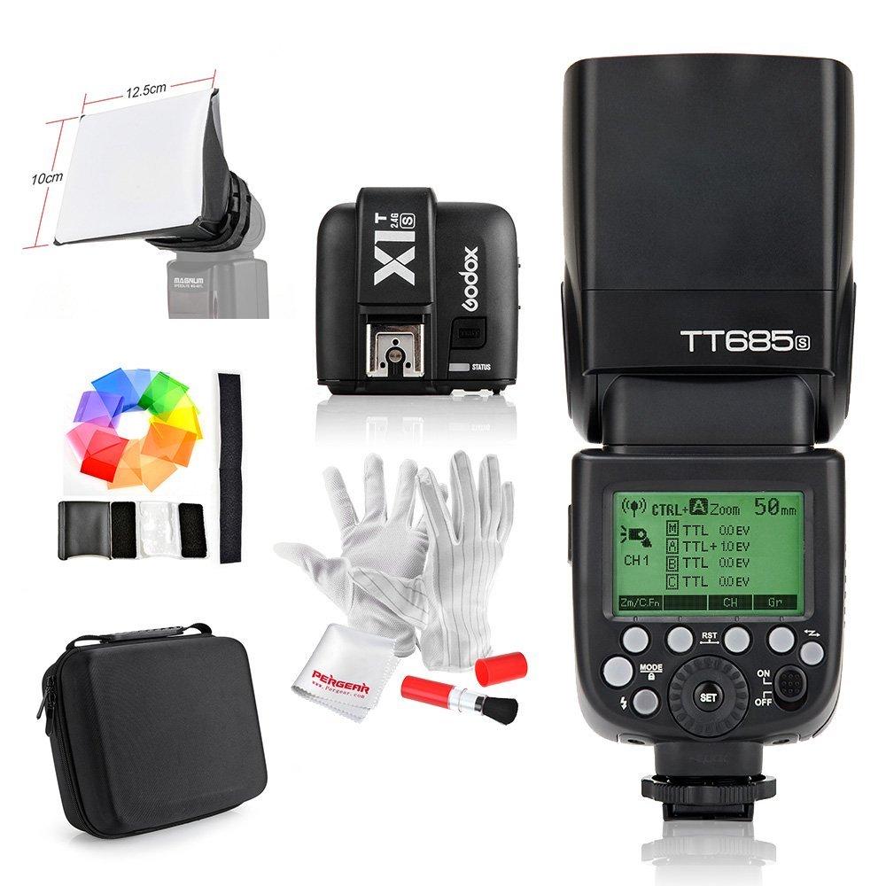 Godox TT685C / TT685N / TT685S Speedlite GN60 TTL 1/8000s HSS Flash with X1T-C/X1T-N/X1T-S Transmitter + Pergear Carry Case Kit