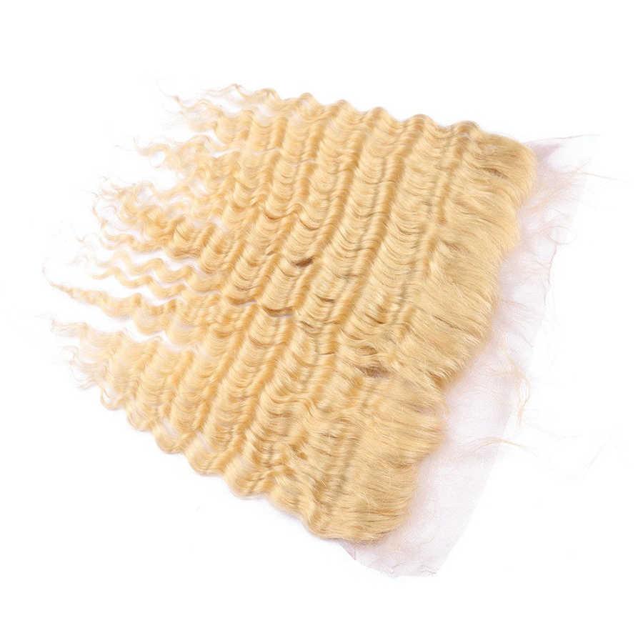 8-26 дюймов 613 пучки волнистых волос с фронтальным бразильским плетением человеческих волос с прозрачным кружевным фронтальным закрытием глубокие волнистые волосы
