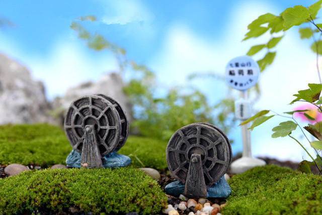 2pcs Lot Mini Vintage Waterwheel Miniature Fairy Garden Home Decoration Houses Craft Micro Landscaping Decor