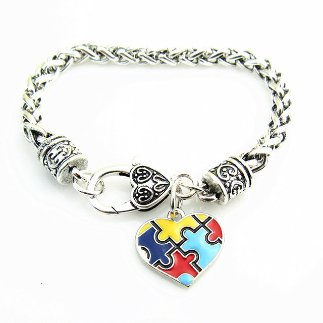 Good Quality Zinc Alloy Enamel Autism Awareness Puzzle Piece Autistic Charm Bracelet 5pcs Lot