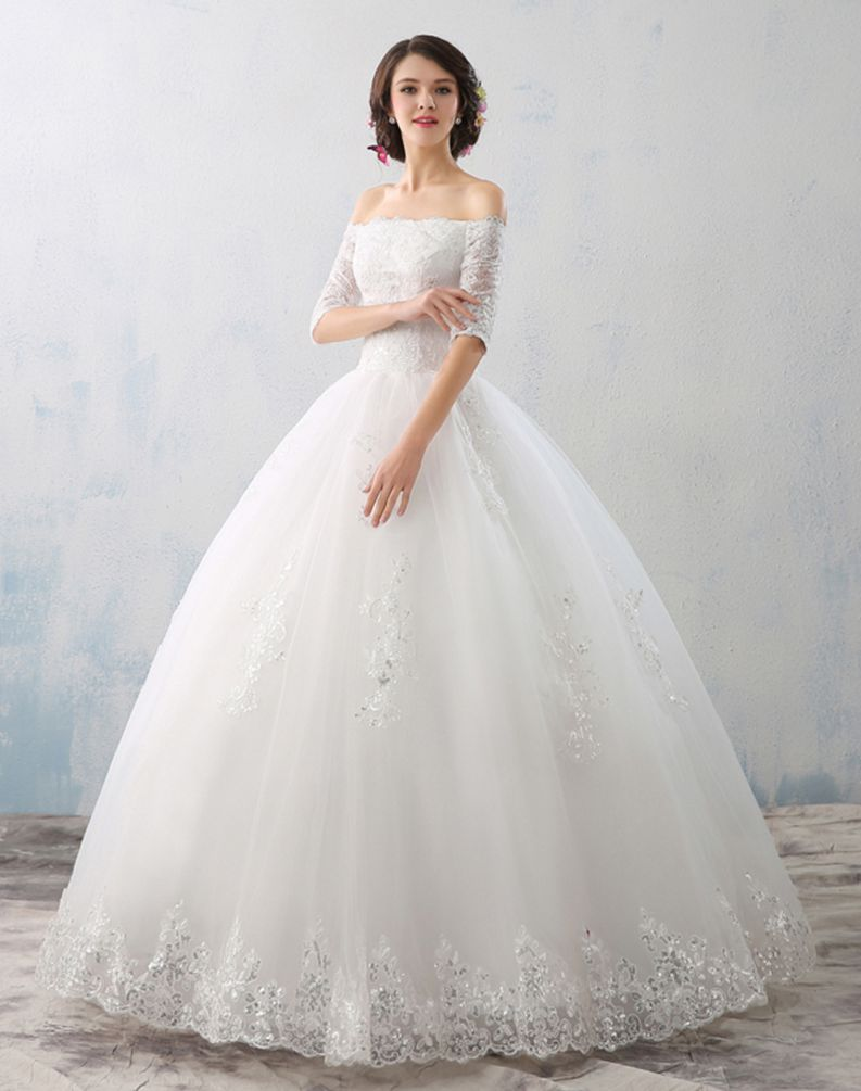 Beauty Emily Red White Ball Gown Wedding Dresses 2017 Boat Neck Half Sleeve Liques Lace Up Gowns Bridal Party In From