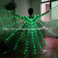 Women's Fiber Optic Costume Led Wings Glow in the Dark Luminous Isis Wings LED Light up Belly Dance Wings With Stick Colorful