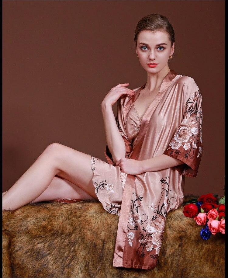 2Pcs Women s Silk Satin Both Robe Kimono Nightgown Pajama Sets Women  Nightgown Sleepwear Plus Size Nightwear For Spring SY 7405-in Robes from  Underwear ... 7fa3426768