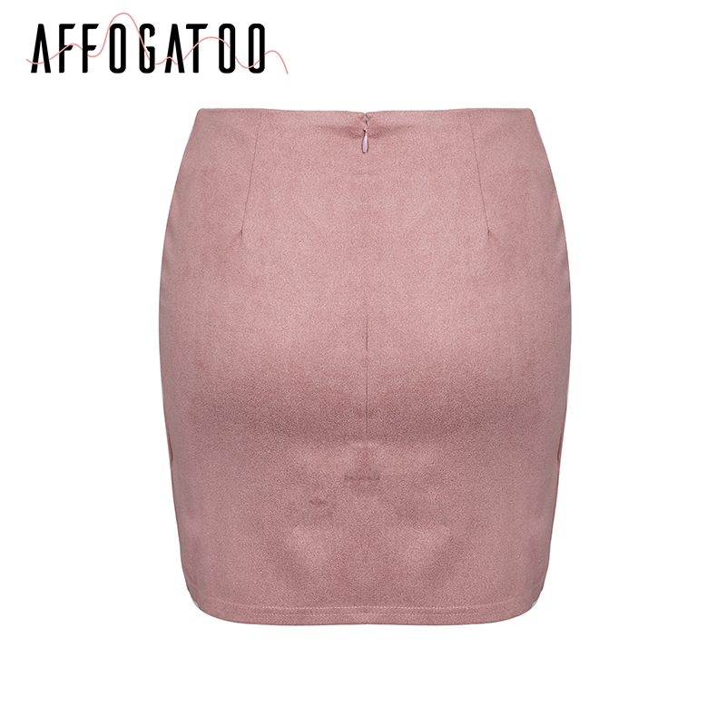 Affogatoo Asymmetrical sash knotted suede skirt women High waist sexy split winter skirt 18 Autumn casual leather skirt female 5