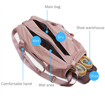 Outdoor Waterproof  Nylon Sports Gym Bags Men Women Training Fitness Travel Handbag Yoga Mat Sport Bag with shoes Compartment 5