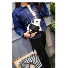 10pcs/lot! New 2017 Designer Cute Small Mini Panda Patchwork Messenger Bag Split Leather Handbags Women Lady Crossbody Bags