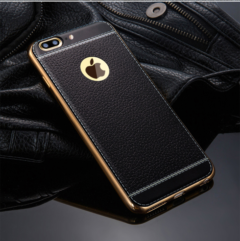 Luxury Leather Striae Soft TPU Case For Apple iPhone 7 7Plus Phone Case  Plating Frame Soft Silicone Cover Cases For iPhone7-in Fitted Cases from  Cellphones ... 8c817c80b3a