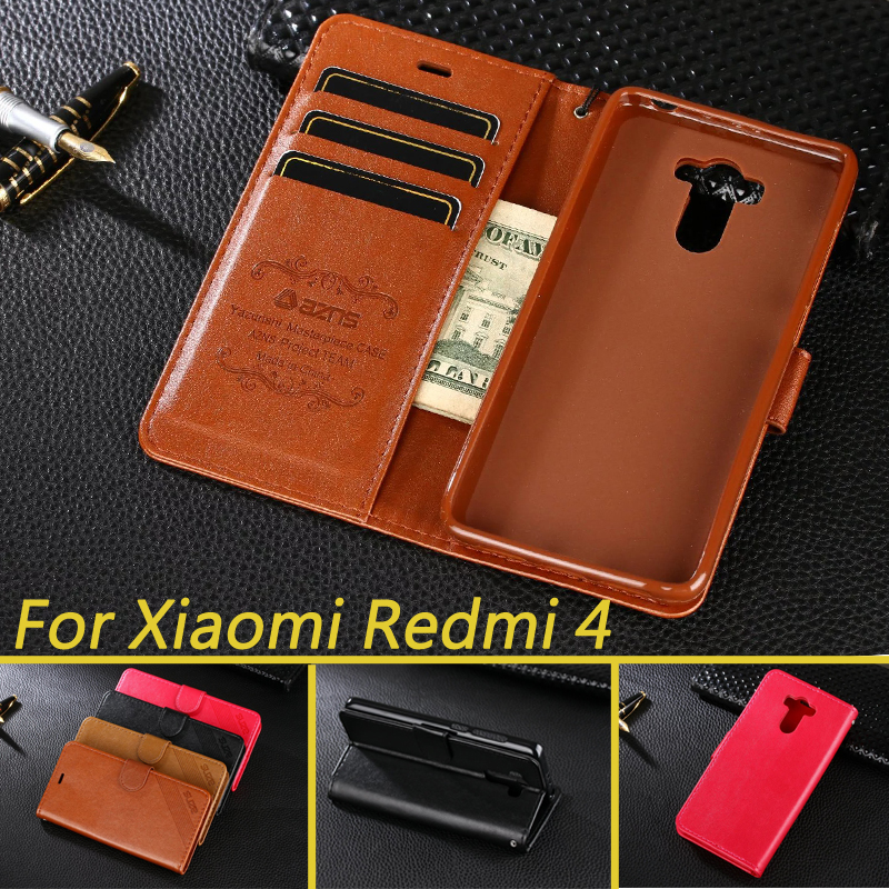 Monedero de lujo flip book case para xiaomi redmi 4 pro redmi 4 cubierta de la p