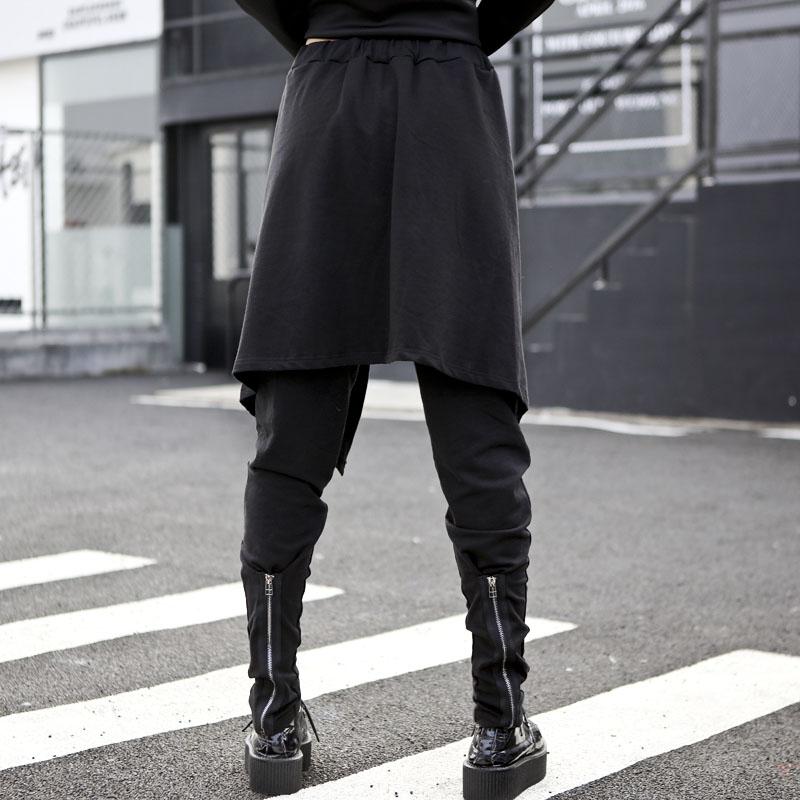 Personnalité Vêtements Cargo Salopette Marée Femmes Jambe Streetwear Irrégulière Harajuku Casual Large Pantalon Harem Jupe qBznO8tn