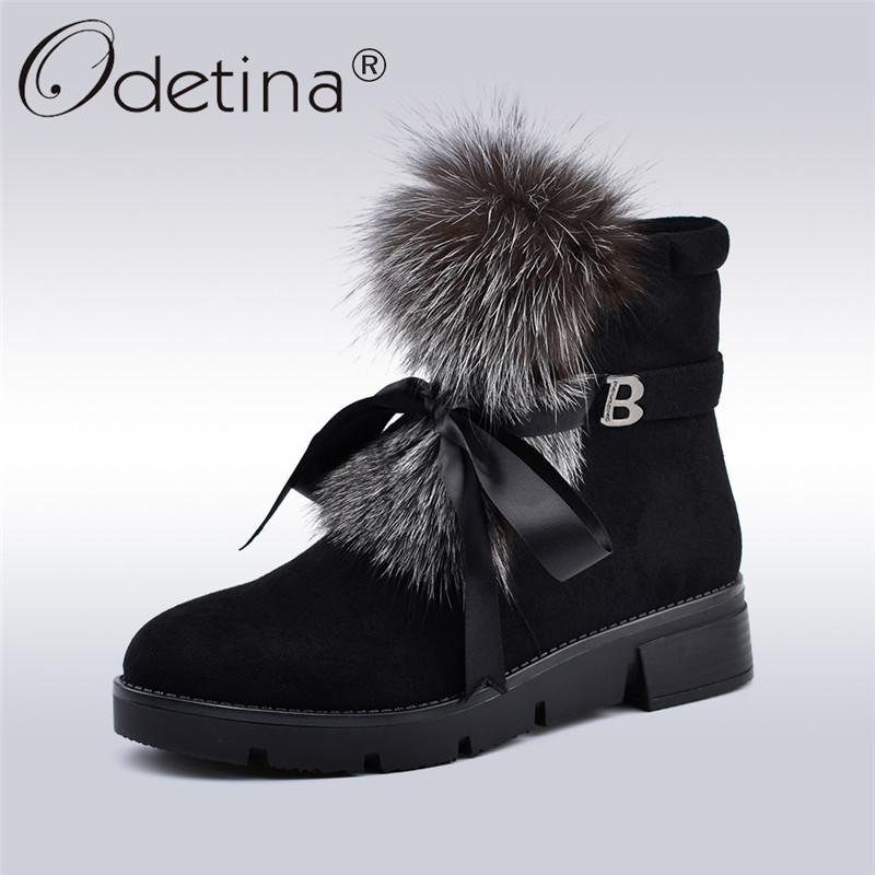 Odetina New Fashion Flock Leather Fox Fur Snow Boots Women Platform Thick Plush Ankle Boots Side Zip Bow Tied Lady Winter Shoes platform bow faux fur ankle boots