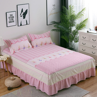New flowers print bedspread 100% cotton bed skirt bed sheet bedding bed set full queen king size cartoon pink bed skirt