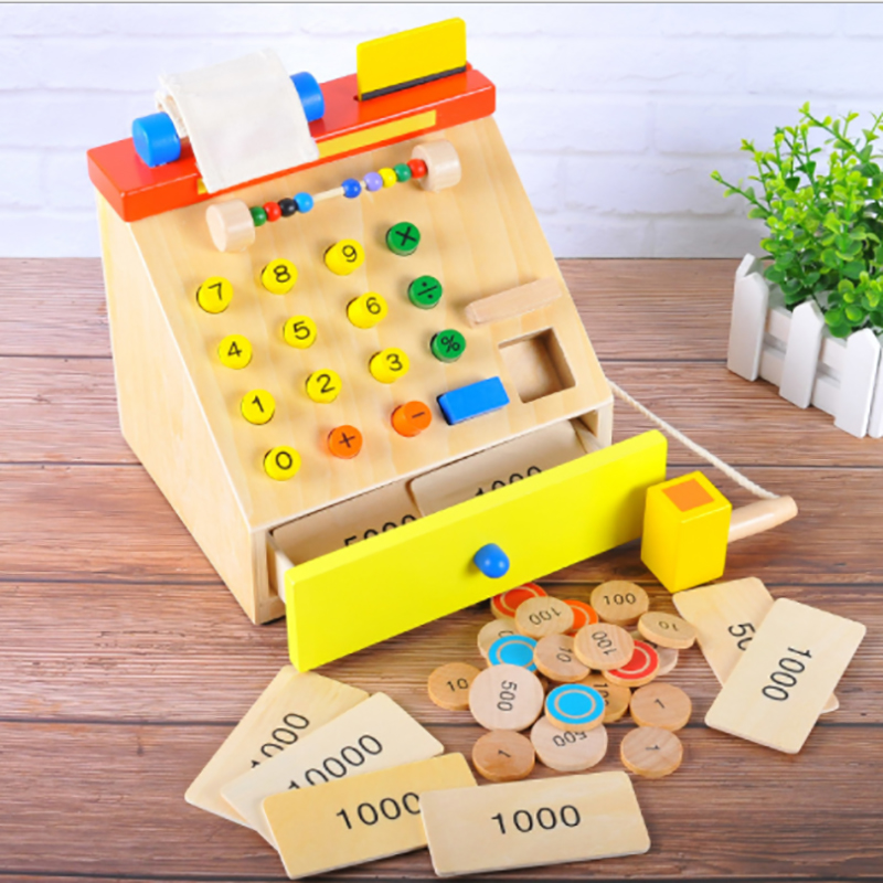 Supermarket Simulation Cash Register Pretending to play role play Children's Wooden Checkout Counter Home Toys Children's gifts