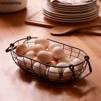 Retro Rustic Wire Net with Wood Bottom Kitchen Storage & Organization Fruit Egg Basket Multifuction Iron Craft Home Storage Tool
