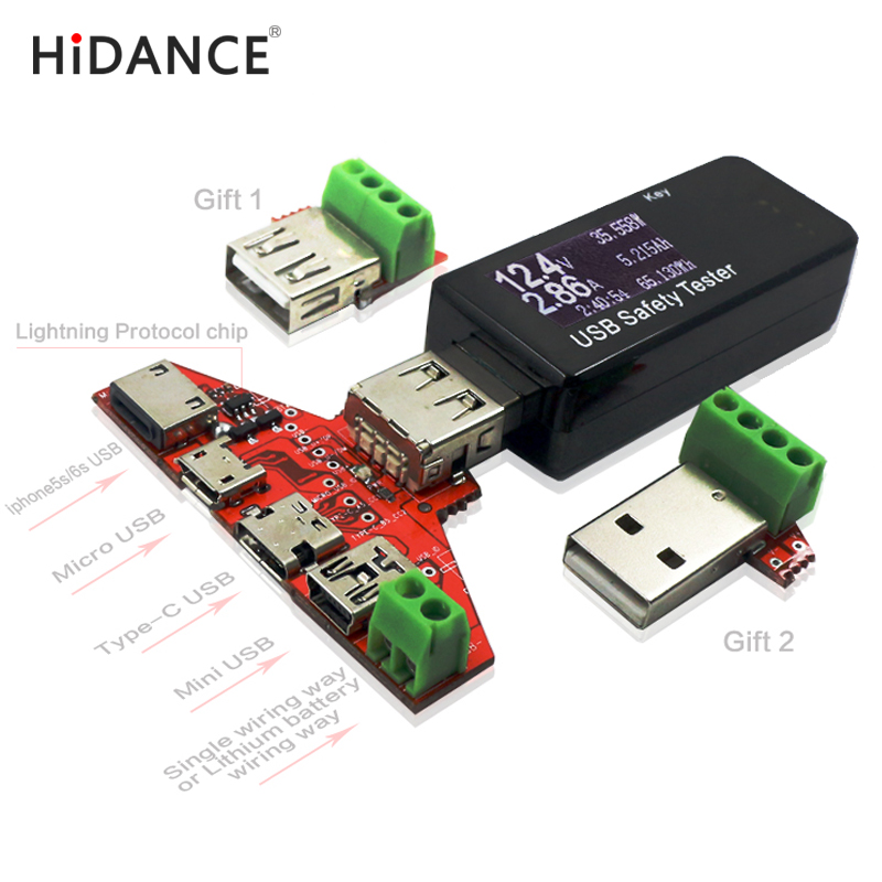 Super schnittstelle USB tester iPhone5s/6 s Blitz protokoll Typ c MiNi Micro usb Einzigen drahtklammer transfer bord qc2.0/qc3.0