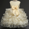 High Quality Brand Girl Lace Princess Dress with Diamond Bow Kids Girl Wedding Dress Infants Bridesmaid Clothes Summer Bow Gown
