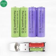 4 pcs/lot AA Batterie + smart USB chargeur 3000 mAh Rechargeable Batterie NI-MH 1.2 V 2A Baterias pour caméra jouets bateau libre