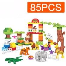 цена на New Brand Animal Large Particle Building Blocks Zoo Set Kids DIY Creative Duploe Brick Educational Children For Toys Gifts