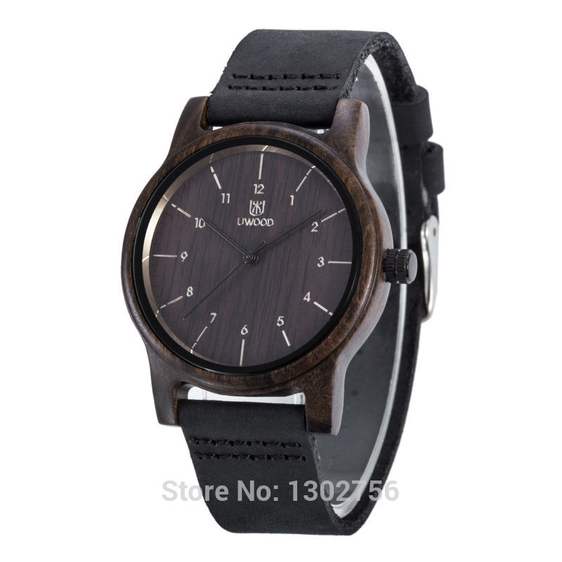 UWOOD 100% Genuine Leather Analog Black Sandal Wood Watch MIYOTA Quartz Movement Wooden Watch For Men Women Lover Gift цена и фото