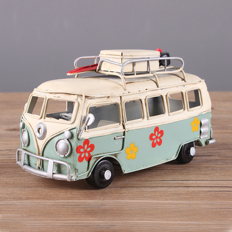 12 Style Vintage Colorful Flower Bus Metal Model Handmade Classic Camping Bus Toy Home Desktop Decoration Kid Girl Birthday Gift hand made tin model retro classic volkswagen camper van craft desktop display quality art work home decoration kid toy gift