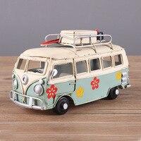 12 W Stylu Vintage, Kolorowy Kwiat Bus Metal Model Ręcznie Klasycznym Camping Autobus Zabawka Pulpit Dekoracji Domu Dzieciak Dziewczyna Prezent Urodzinowy