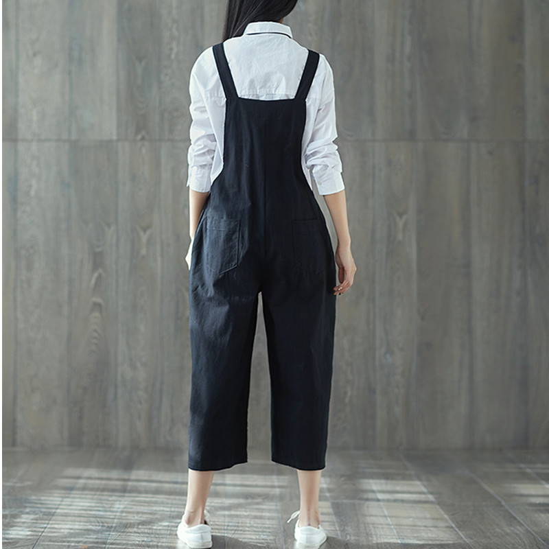 67fce826c1c Vintage Women Cotton Linen Casual Loose Jumpsuit Pockets Dungaree Harem  Trousers Overall Ankle Length Pants ilstile 2018 Fashion-in Jumpsuits from  Women s ...