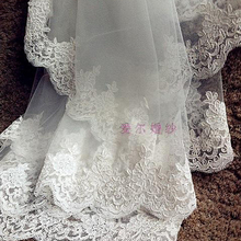 White ivory Wedding Accessories Lace 3M Cathedral Length Whi